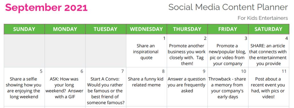 Social Media Calendar Sample